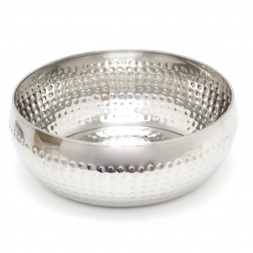 24cm Stylish Silver Metal Kitchen Fruit Bowl | Round Stainless Steel Display Dish With Hammered Detail | Snack Bowl