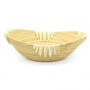 Oval Bamboo Presentation Bowl | Decorative Wooden Display Dish | Eco Friendly Bamboo Table Centerpieces