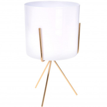 Contemporary White Metal Cache Pot With Stand | Decorative Cachepot Planter | Indoor Garden Plant Pot