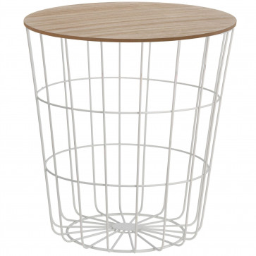 Modern Storage Side Table With Lid   Round Wooden Top White Wire Bedside Occasional Side   Metal Storage Basket Table - 43cm