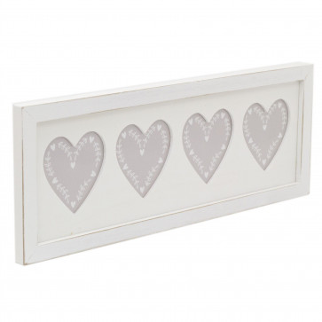 Shabby Chic Heart Multi Photo Frame   Wooden Photo Picture Frame   Wall Mounted 4 Aperture Picture Frame