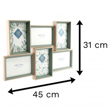 Olive Grove 6 Multi Aperture Photo Frame 6x4   Wall Mounted Wooden 4x6 Picture Frame   Photo Collage Display Family Frames