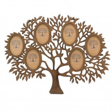 Mango Wood Tree Of Life Photo Frame   Wall Mounted Family Tree Multi Picture Frame   6 Aperture Collage Photo Frames