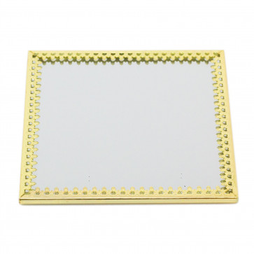 10cm Decorative Mirror Glass Display Plate   Mirrored Candle Tray   Gold Glass Coaster - Square