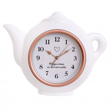 White And Rose Gold Teapot Shaped Kitchen Clock   Modern Wall Mounted Analogue Kettle Wall Clock   'Happiness Is Homemade' - 28cm
