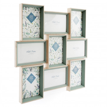 Olive Grove 9 Multi Aperture Photo Frame 6x4| Wall Mounted  Wooden 4x6 Picture Frame | Photo Collage Display Family Frames