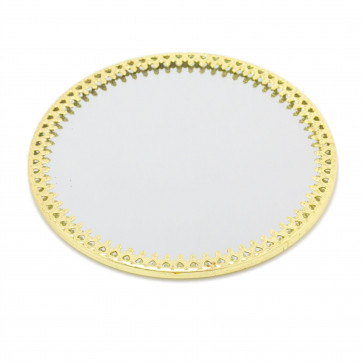 10cm Decorative Mirror Glass Display Plate | Mirrored Candle Tray | Gold Glass Coaster - Round