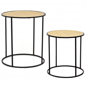 Set Of 2 Round Wooden Woven Top Nesting Side Tables | Occasional Pedestal End Table Nest | Black Metal Seagrass Stacking Tables