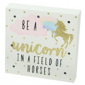 Glitter LED Light Up Unicorn Block Wall Plaque Art ~ Be A Unicorn
