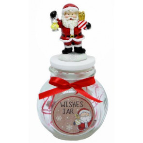 Merry Christmas Make A Wish Glass Jar Santa Wishlist