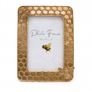 4 X 6 Rose Gold Honey Bee Photo Frame | Free Standing Metal Bumblebee Picture Frame | Single Aperture Honeycomb Photo Holder