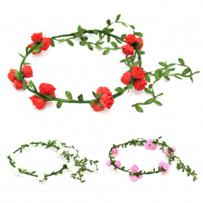 Rose Flower Hair Headband Headdress Garland Crown For Wedding, Parties, Festival ~ Colour Varies