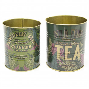 Set Of 2 Retro Metal Wild Fern Storage Tins - Fernology Decorative Display Can