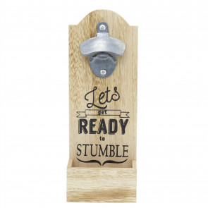 Wooden Wall Mounted Bottle Opener With Cap Catcher | Novelty Let's Get Ready To Stumble Drinks Cap Opener | Home Bar Drinks Accessory