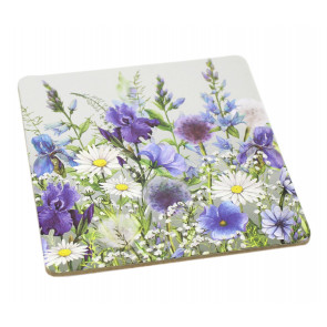 Set of 4 Floral Meadow Wipe Clean Drinks Coasters - Blue Flower and White Daisy