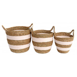 Set Of 3 Gorgeous Festival Vibe Storage Basket With Handles ~ Pink Striped