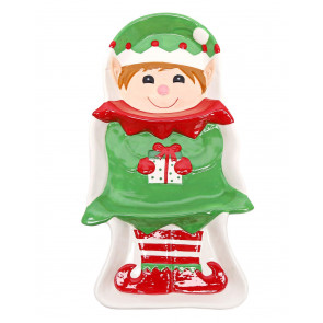 Fun Christmas Festive Elf Ceramic 3 Section Serving Dish ~ Xmas Party Platter Plate