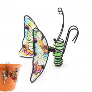 Butterfly Garden Planter Pot Vase Decoration | Ornamental Butterfly Suncatcher, Stained Glass Effect ~ Colour Varies One Supplied