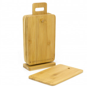 Set Of Six Environmentally Friendly Bamboo Wooden Chopping Boards - Mini Rectangular Cutting Board And Serving Platter