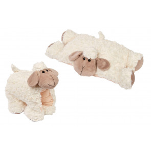 Cute Fluffy Sheep Plush Folding Travel Sofa Chair Cushion - Animal Bed Throw Pillow - Soft Toy