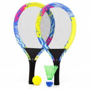 Jumbo Soft Tennis Set With Soft Ball And Shuttlecock | Outdoor Beach Toy Tennis Rackets For Kids To Play Tennis or Badminton | Outdoor Garden Games