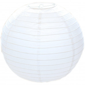 50cm White Paper Lampshade - Classic Bamboo Style Ribbed Paper Lantern Lamp Shade