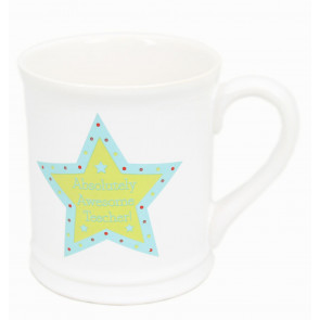 Chunky Ceramic Star Teacher Mug Gift ~ Absolutely Awesone Teacher