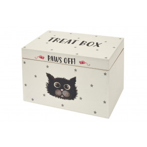 Cool Cats Kittens Paws Off Wooden Treat Box ~ Pet Snack Food Storage Box