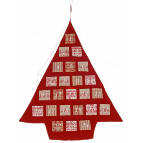 Hanging Fabric Christmas Tree Pocket Advent Calendar Decoration