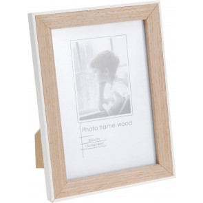 Simple Stylish Natural Wood Cream Mounted Wooden 5x7 Picture Frame - 14.5cm x 20cm Freestanding Wall Mountable Single Aperture Photo Holder
