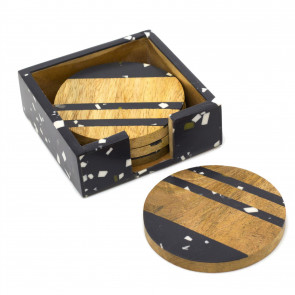 Set Of 4 Wooden Coasters With Holder | Square Cup Mug Table Mats | Drinks Coaster Set - Black