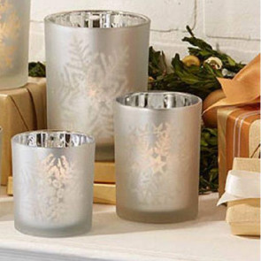 Set Of 3 Frosted Silver Glass Tealight Holders With Snowflakes ~ Silver