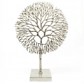 Silver Coral Sculpture Decorative Ornament on Metal Stand Tree Of Life Jewellery Stand - Silver Metal Coral Ornament On Aluminium Base