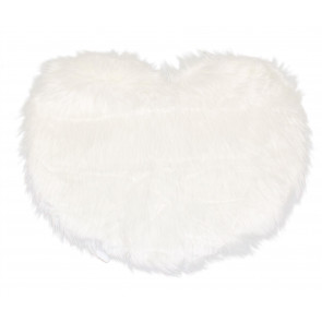 Gorgeous Faux Fur Heart Shaped Non Slip Mat ~ Living Room Bedroom Rug ~ White