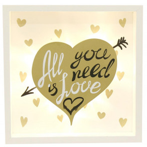 Gold Light Up Box Frame LED Sign Hanging Wall Plaque 20X3X20CM ~ All You Need Is Love