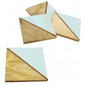 Elegant Set of 4 Double Tone Wooden Coasters For Drinks Cup Mug Table Mats ~ Blue