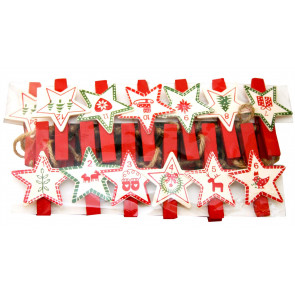 Christmas Advent Calendar Peg Garland 60Cm - Star Design