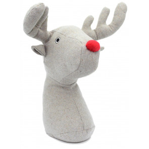 Rudolph Red Nosed Reindeer Stag Fabric Doorstop ~ Novelty Animal Door stop