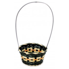 Woven Halloween Trick Or Treat Basket Sweet Candy Bucket ~ Black