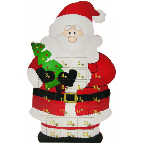 Wooden Father Christmas Santa Claus Advent Calendar With Drawers