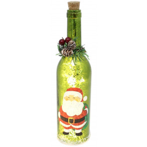 Mercury Glass Christmas Wine LED Bottle Lights Lantern Decoration ~ Green Santa