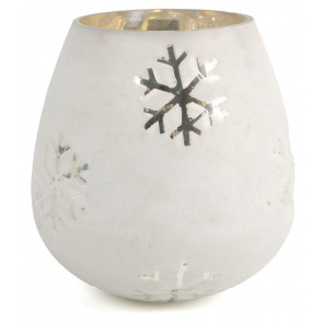 Medium Snowflake Frosted Mirrored Glass Christmas Tealight Candle Holder 13cm