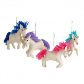 Magical White Unicorn Hanging Felt Ornament Decoration ~ Colour Vary