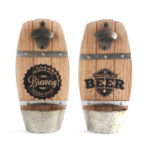 Wooden Wall Mounted Beer Barrel Keg Bottle Opener With Cap Catcher Home Bar Accessory ~ Designs Vary