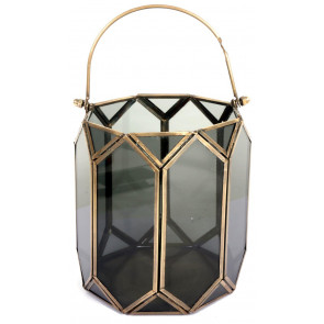 16cm Hexagon Brass Black Glass Tealight Candle Lantern