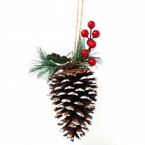 Christmas Pine Cone And Berry Hanging Decoration ~ Festive Xmas Tree Bauble