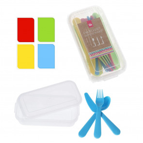 15 Piece Reusable Plastic Cutlery Set | Picnic Tableware Set Camping Cutlery Set Family | Party Travel Tableware