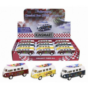 Die Cast Pull Back Vw Camper Van Hippy Flower Power Bus With Surfboard ~ Design Vary