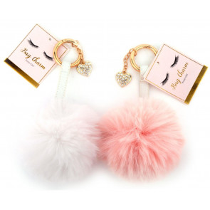 Super Fluffy Keyring/ Bag Charm With Love Heart - Colour Varies