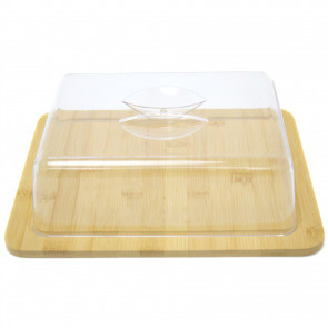 Cheese Dome | Environmentally Friendly Bamboo Wooden Cheese Board And Acrylic Dome - Fridge Storage Container